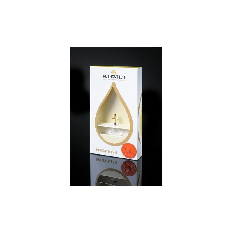 Empaque de lujo con colgante base plana con agual del río Jordán, oro laminado 24k-109