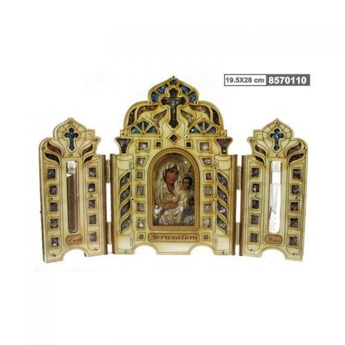 Tríptico de la Virgen María con tierra y agua-124