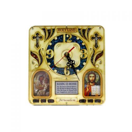 Reloj GRANDE con imagenes y piedras semi preciosas, bendición de la casa o negocio.-125