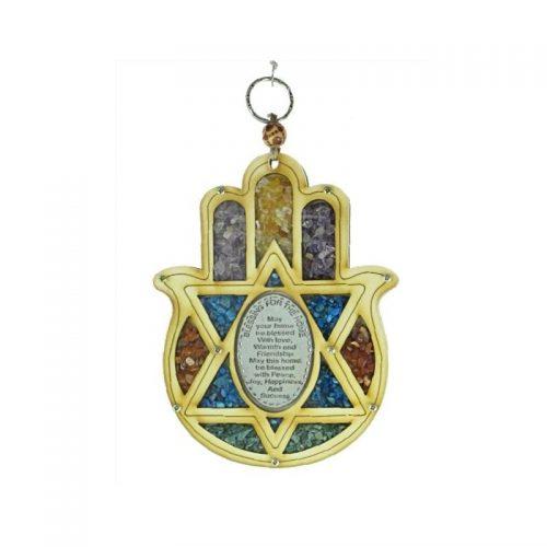 Hamsa Estrella de David con piedras y bendición de la casa o negocio-145