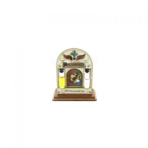 Icono con Bendición de Casa/Negocio, tierra santa, aceite y agua, en pedestal-154