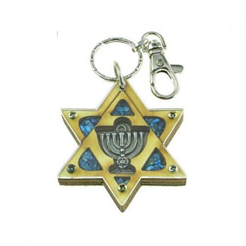 Llavero de Estrella de David con Menorá-157