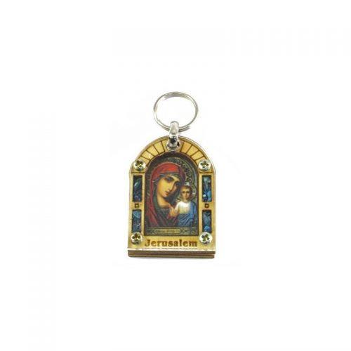 Llavero con Virgen María y piedras-168