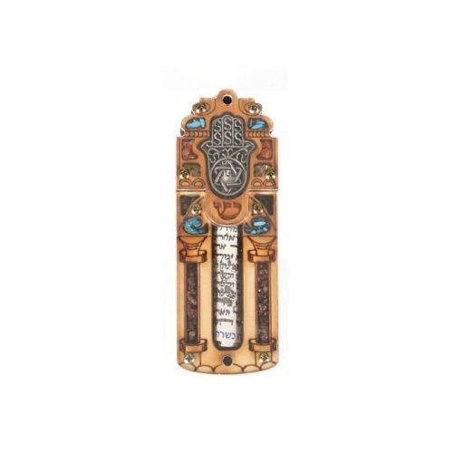 Mezuzá pequeño con Oracion y piedras semi preciosas-202