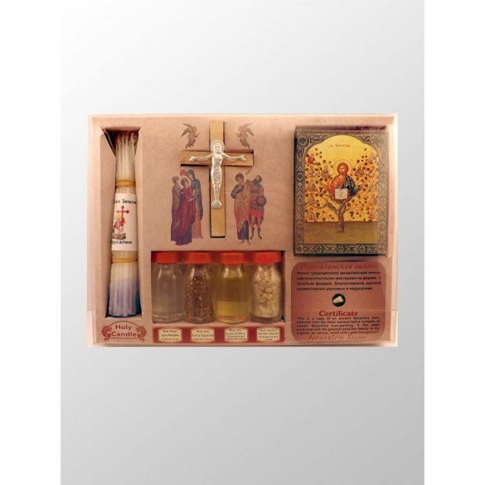 Caja con 4 esencias de Tierra Santa, candelas, ícono y cruz-225