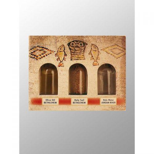 Caja con 3 esencias de Tierra Santa, agua, tierra y aceite-226