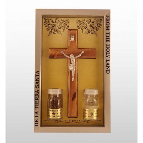 Cruz hecha a mano de madera de olivo con 2 esencias de Tierra Santa-360