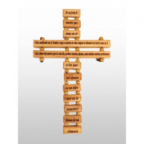"""Cruz con oración """"Padre Nuestro"""" 21cm - Hecho a mano de madera de olivo-363"""