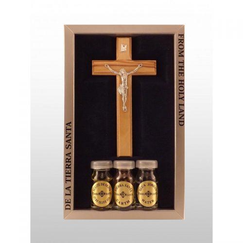 Crucifijo de madera de olivo con 3 esencias de Tierra Santa-368