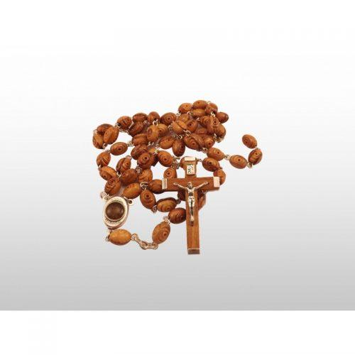 Rosario madera de olivo con diseño de rosas con tierra de Tierra Santa-390