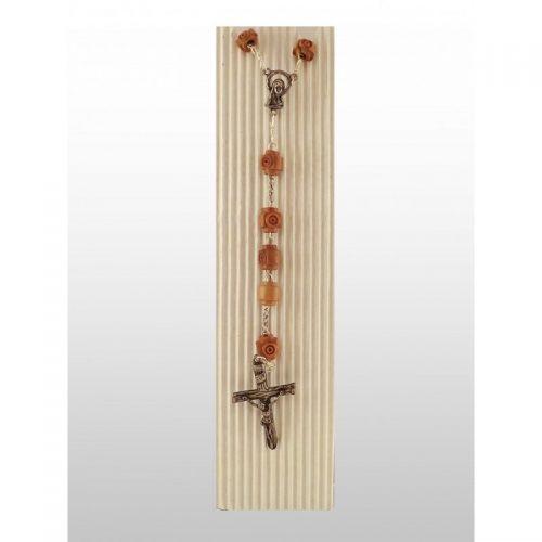 Rosario de madera de olivo con rosas talladas-397
