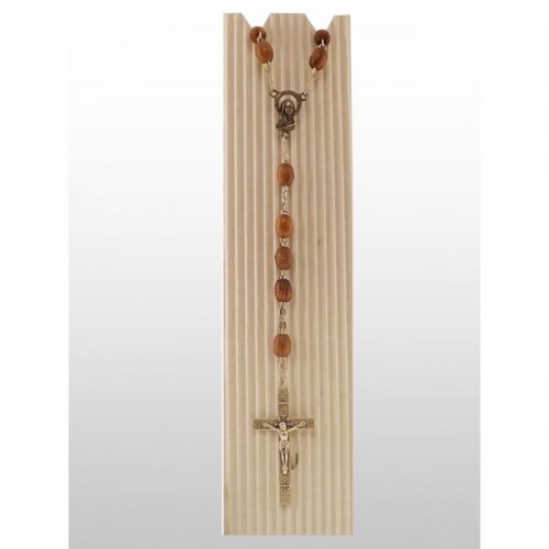 Rosario de madera de olivo (perlas ovaladas)-398