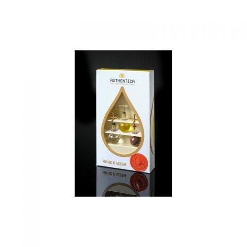 Empaque de lujo con trío de colgantes en base plana con agua, aceite y tierra, oro laminado 24k-84