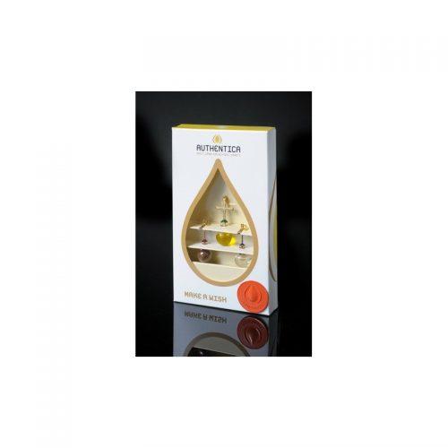 Empaque de lujo con trío de colgantes con agua, aceite y tierra, oro laminado 24k-87