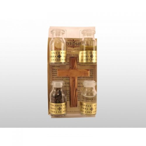 Cruz hecha a mano de madera de olivo con 4 esencias de Tierra Santa - En bolsa-289