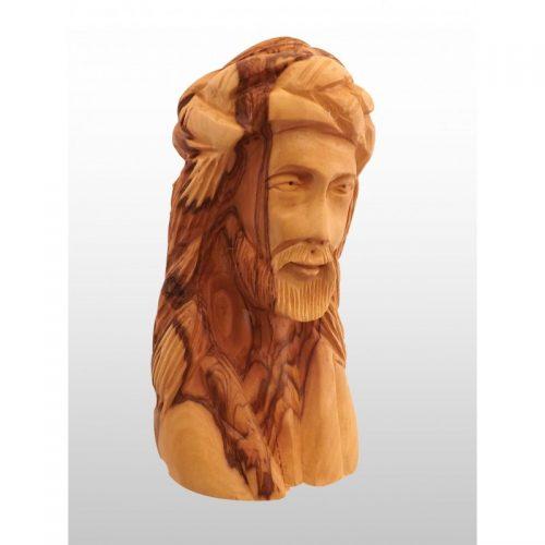 Escultura cabeza de Jesús, hecho a mano de madera de olivo-334