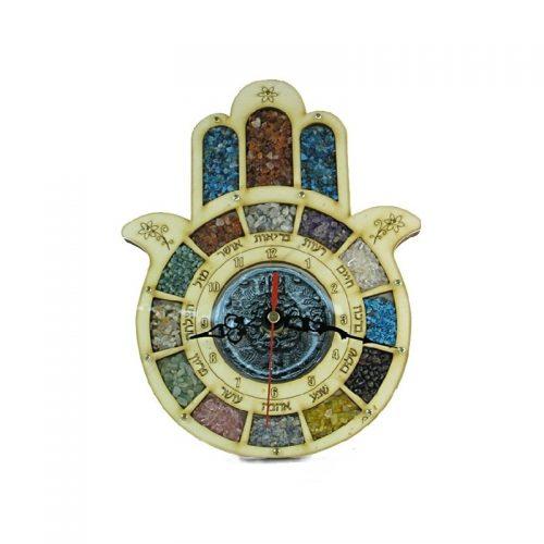 Reloj grande forma de mano (Hamsa) con piedras semi preciosas