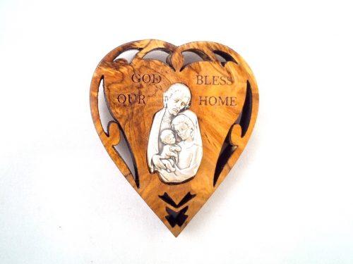 Corazón Bendición del Hogar con Iman en madera de olivo