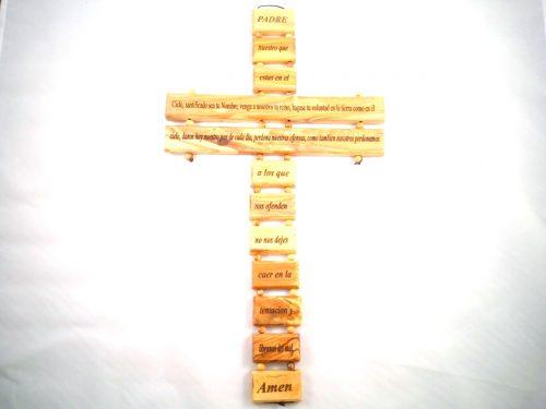 """Cruz con oración """"Padre Nuestro"""" 35cm - Hecho a mano de madera de olivo-423"""