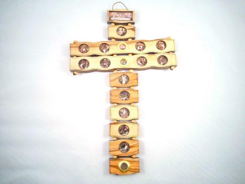 Cruz 14 estaciones hecho de madera de olivo - 30 cm
